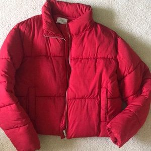 Urban outfitters red puffer jacket